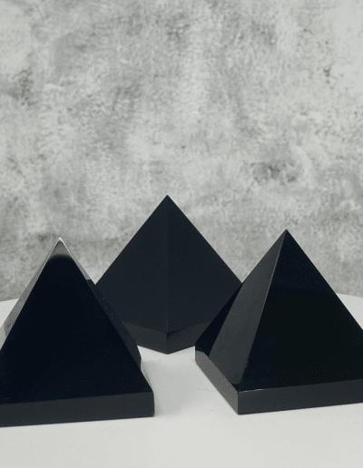 Black obsidian Stone Pyramid
