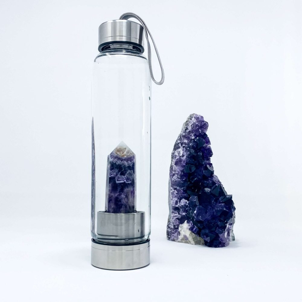 amethyst water bottle with crystal inside