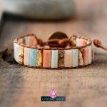 peach jasper mix bracelet