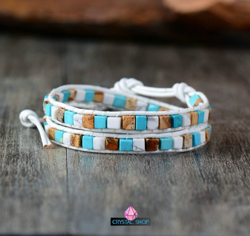 Two Strands Gemstone Cube Bracelet