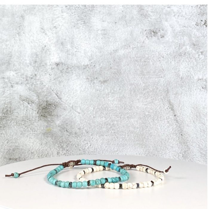 Turquoise & Howlite Bead Bracelet