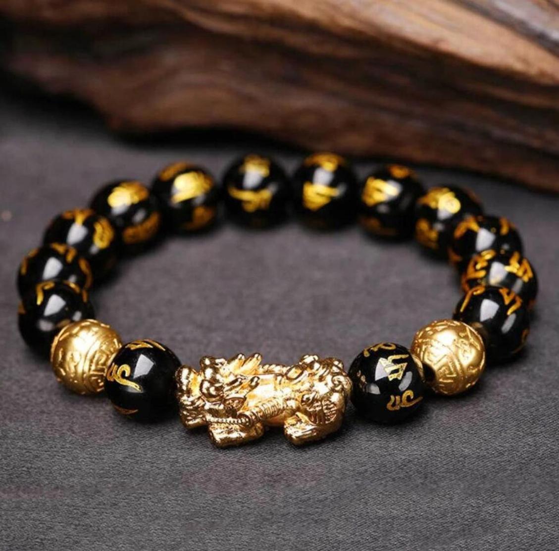 black obsidian feng shui pixiu bracelet for luck 1