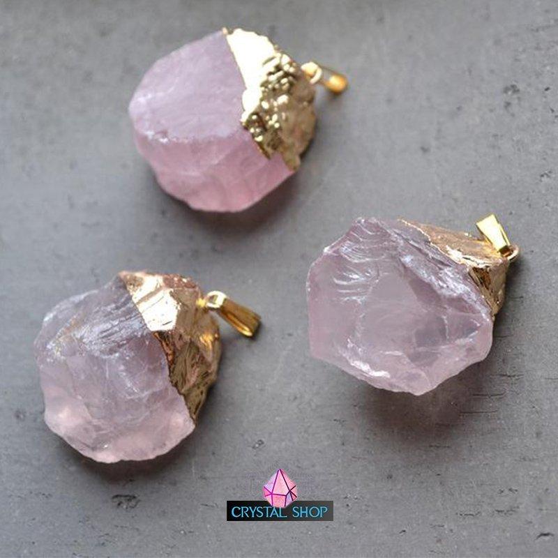 Gold Dipped Crystal Pendant rose quarzt 2