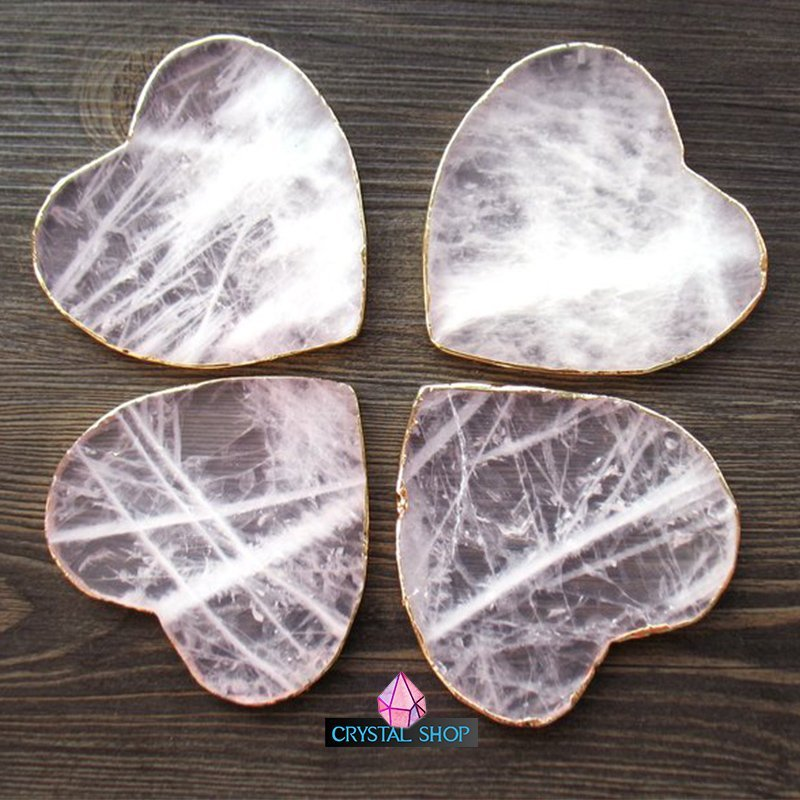 rose quartz crystal coasters