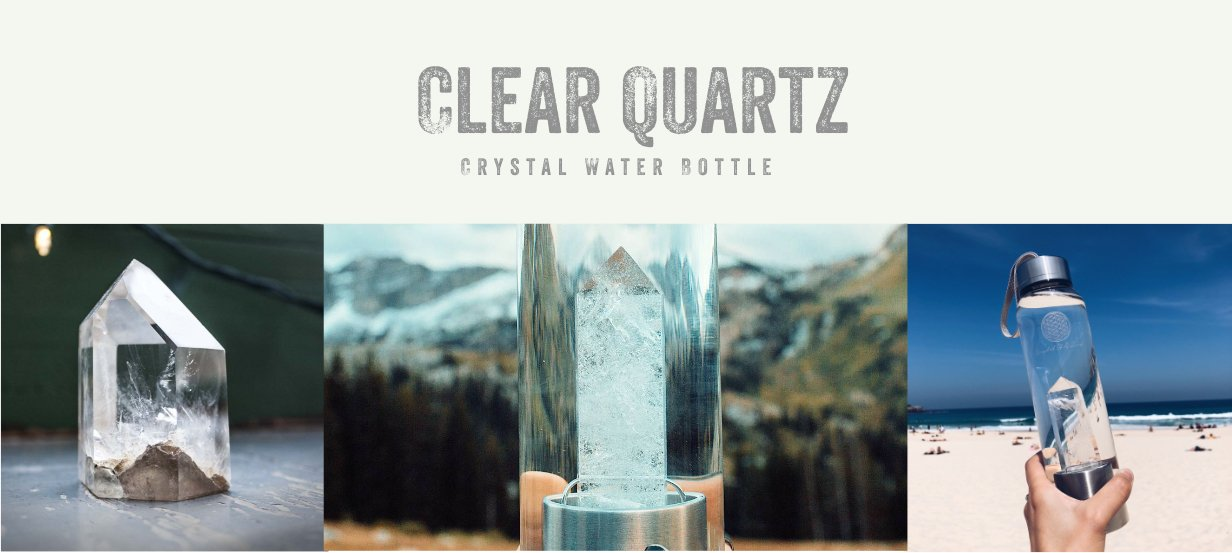 clear quartz healing crystal water bottle
