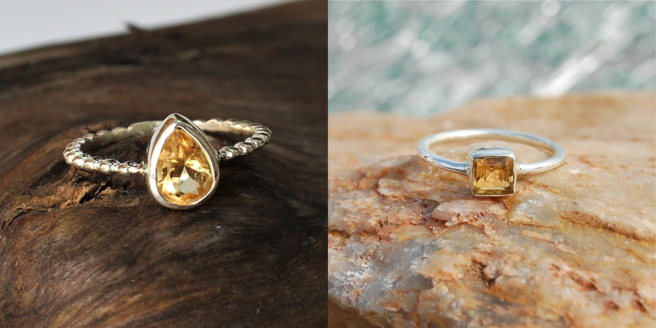 gold citrine ring