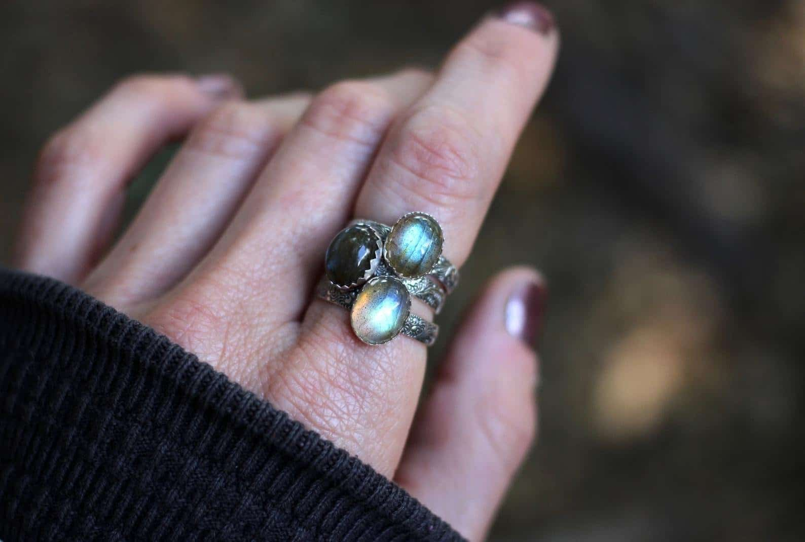 Labradorite wedding Ring