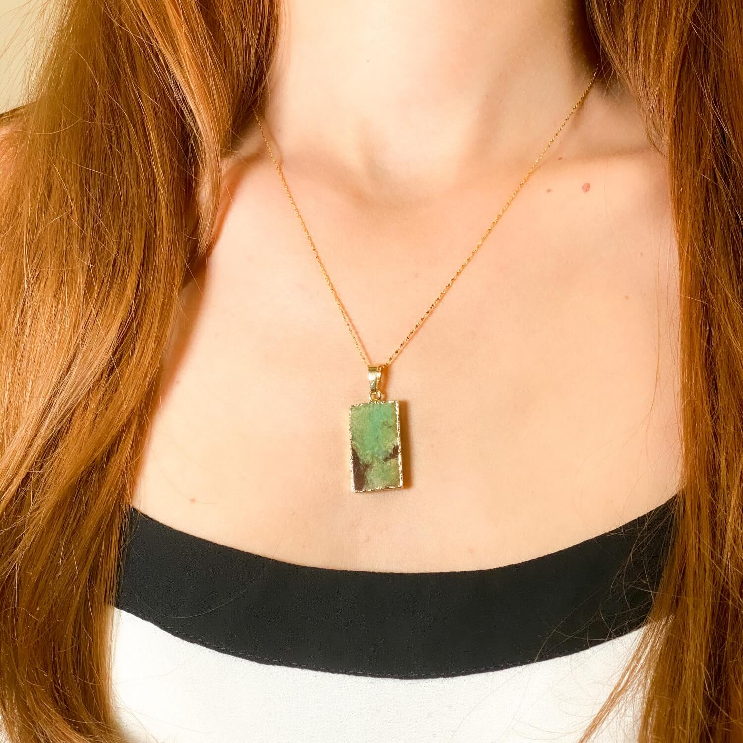 Chrysoprase Necklace jewelry gold plated sterling silver asana crystals 5