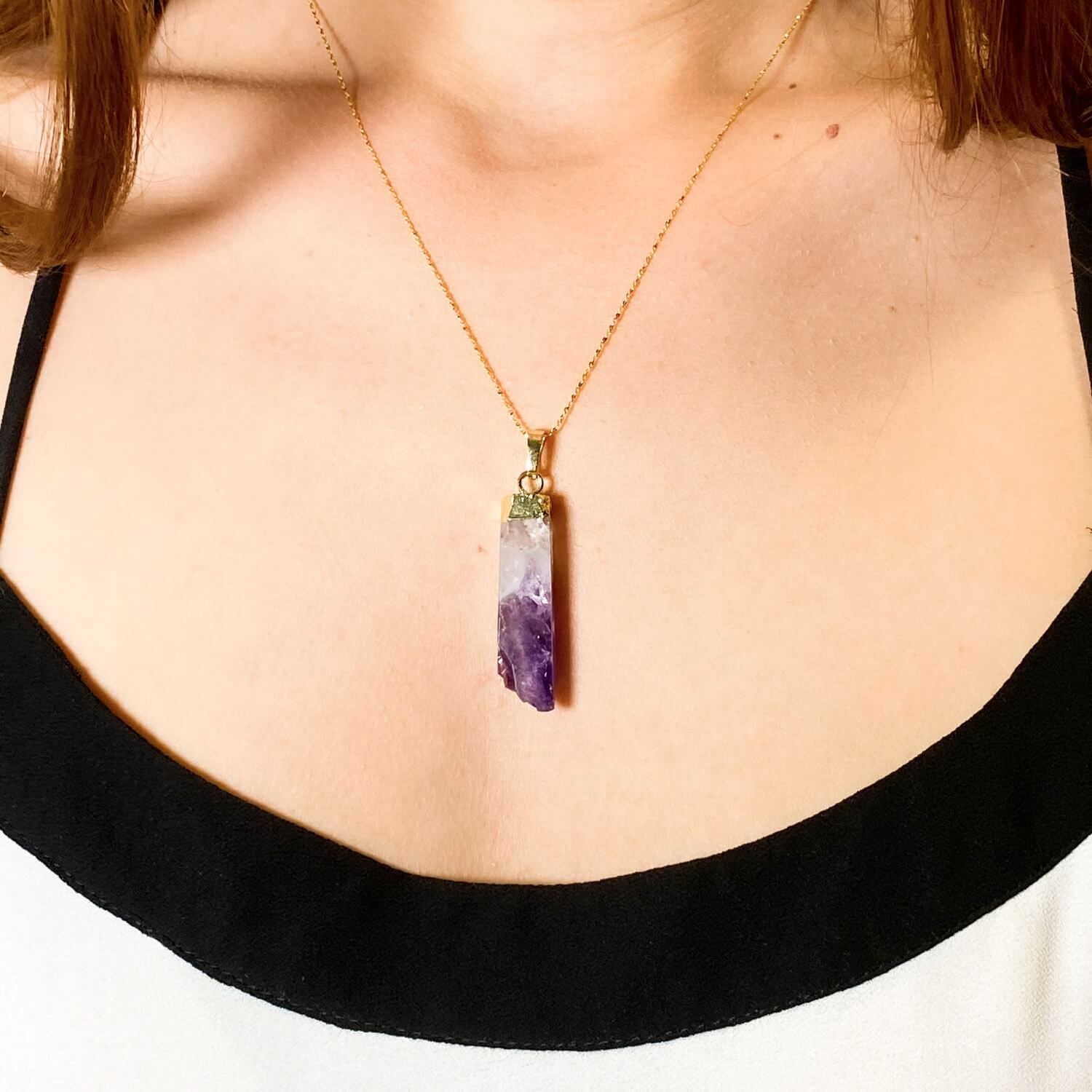 amethyst necklace with gold plated sterling silver 18k gold 2