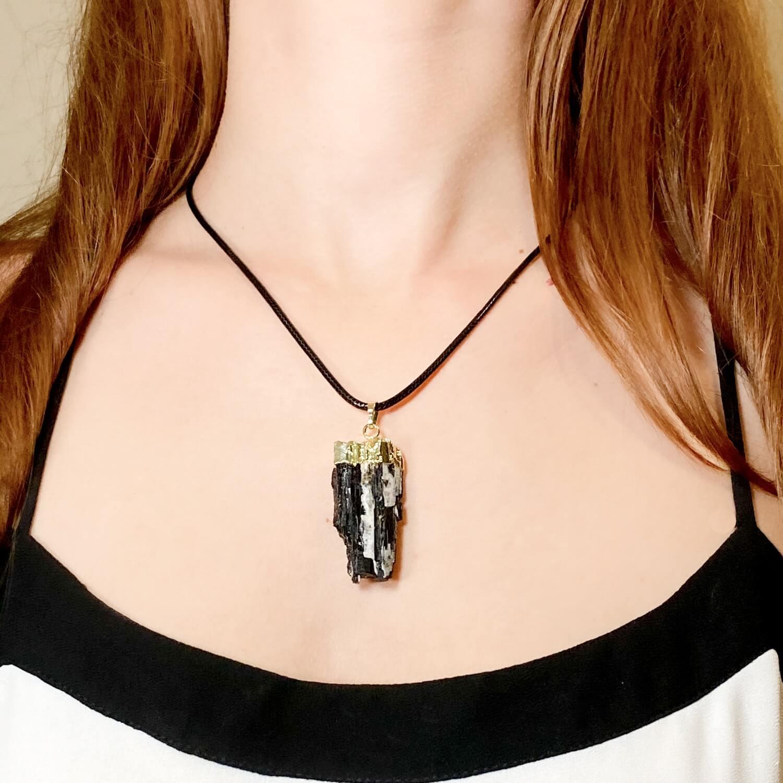 black tourmaline necklace tourmaline crystal point necklace