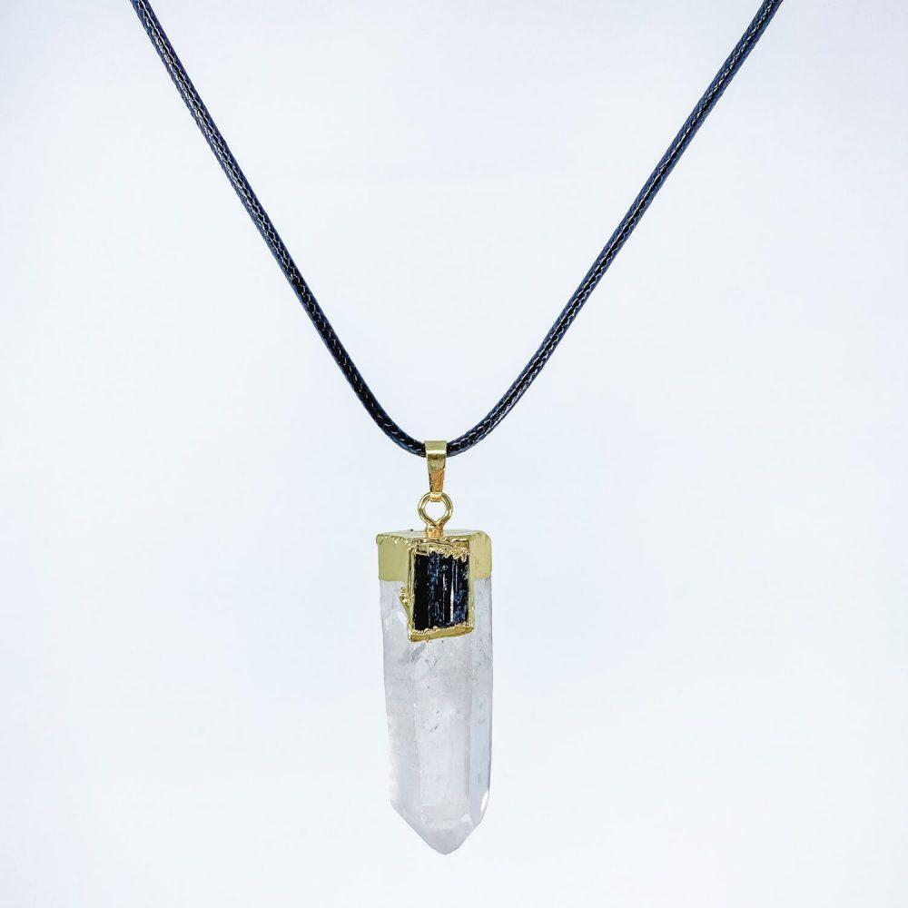 clear quartz and black tourmaline necklace