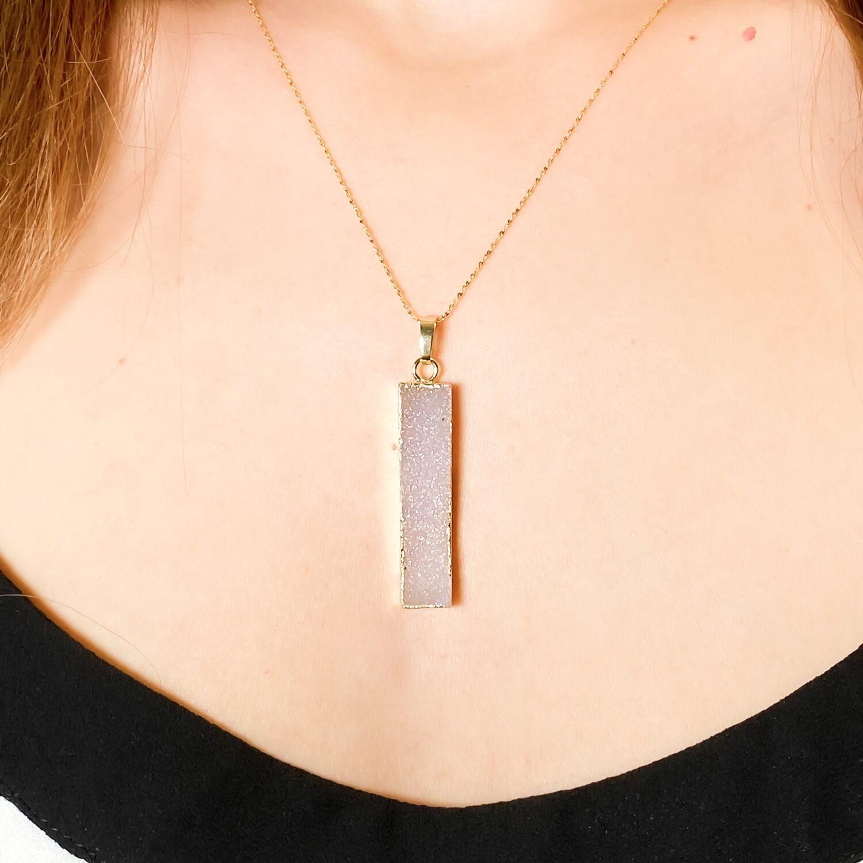 druzy necklace jewelry raw druzy cluster with gold plated 18k necklace 4