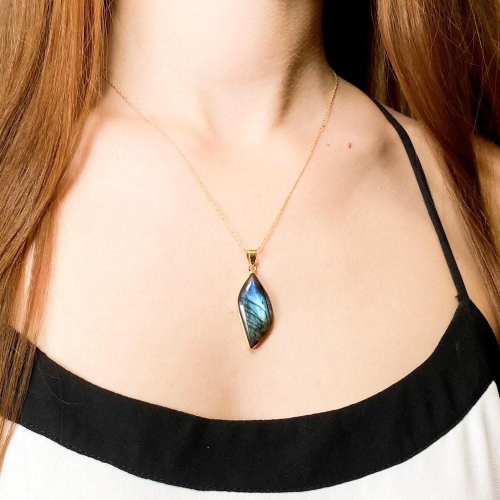 labradorite necklace gold