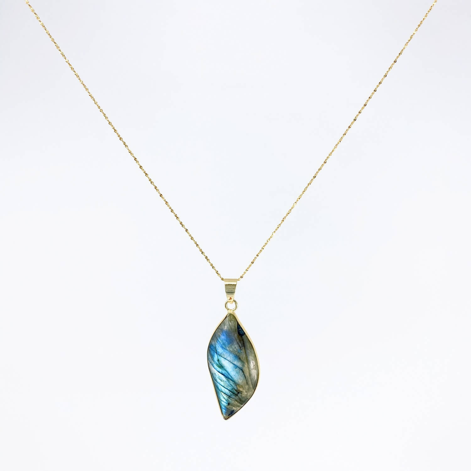 labradorite necklace 18k gold plated silver healing jewelry