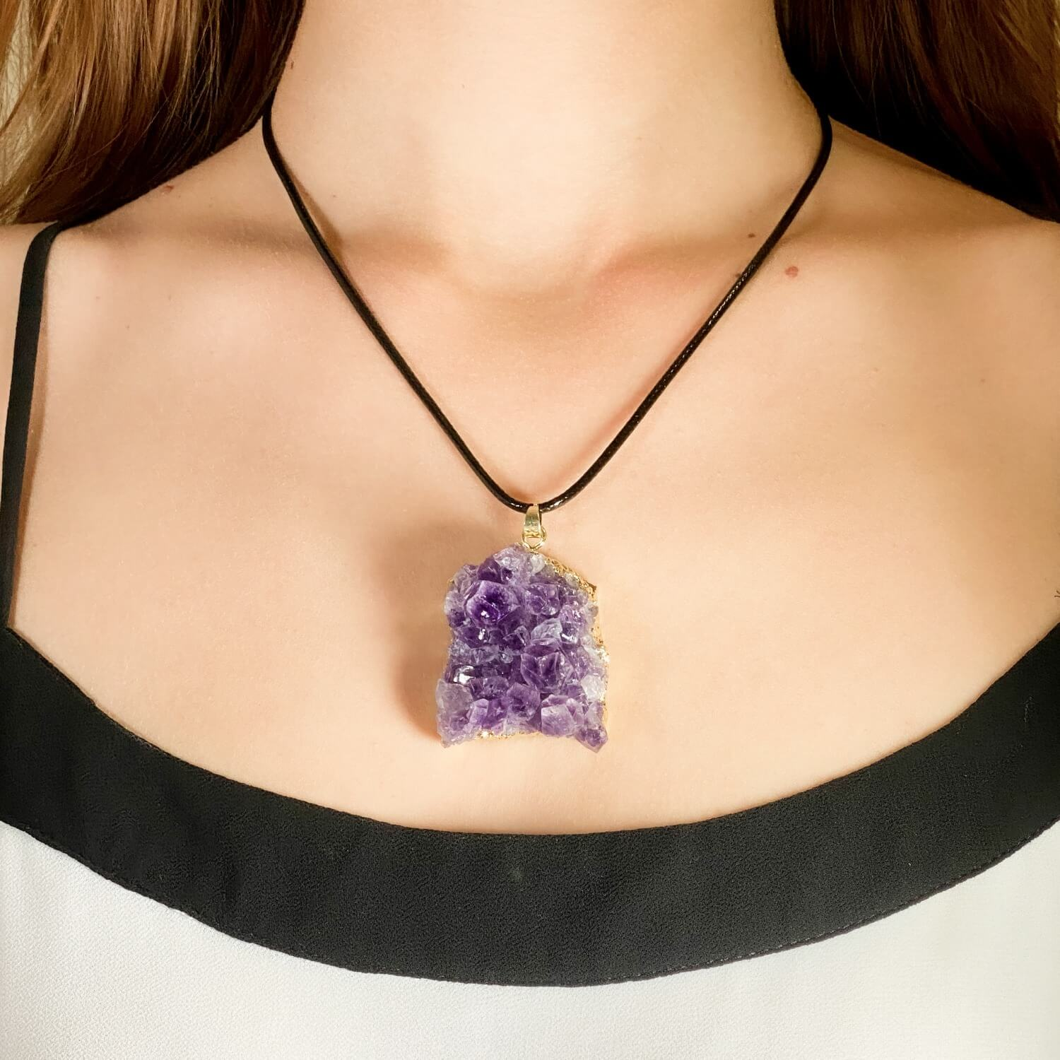 raw amethyst necklace pendant jewelry crystal 1