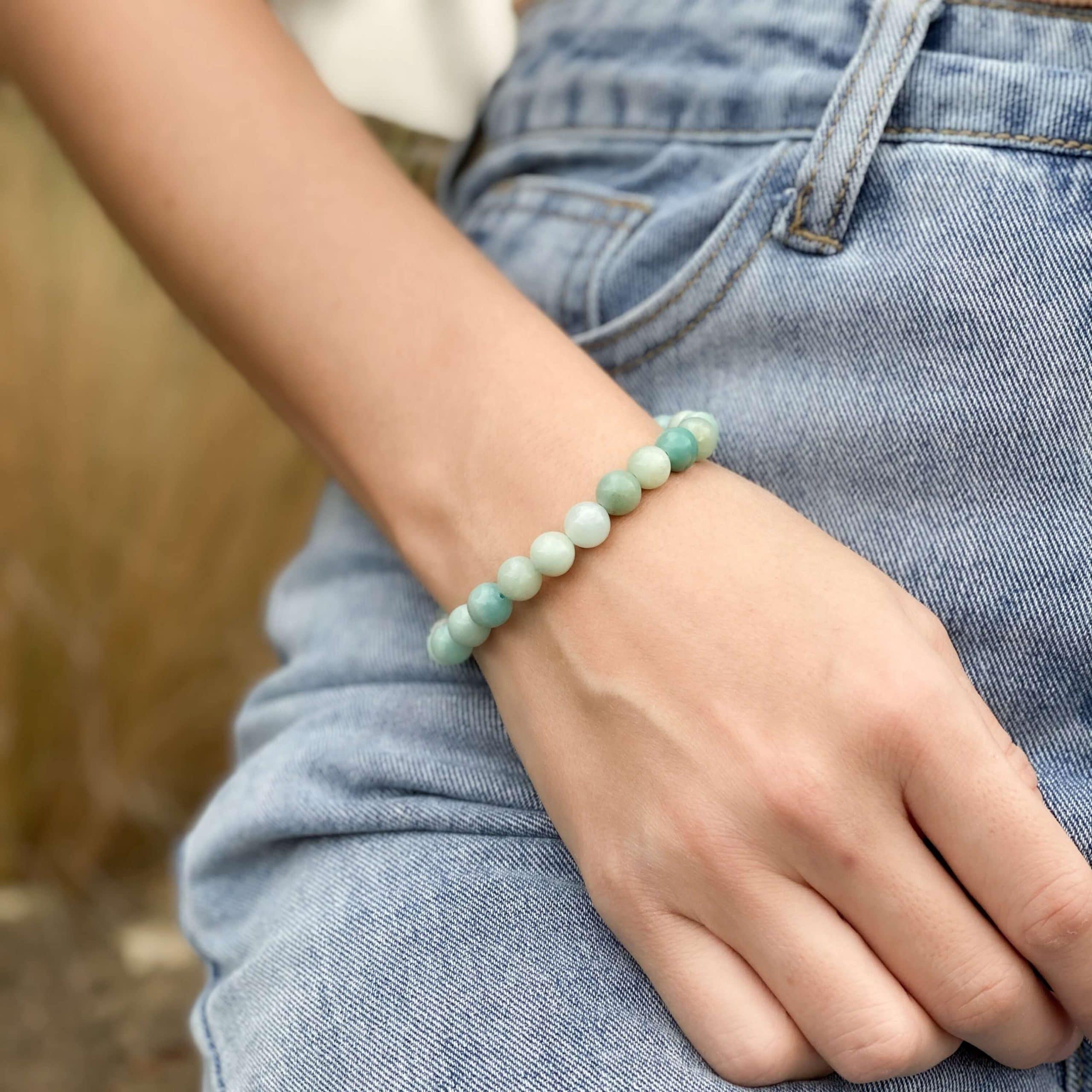 amazonite bracelet beaded blue stone bracelet scaled