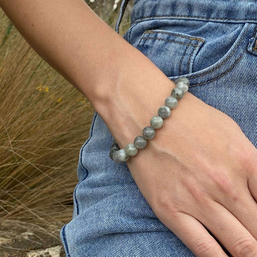 Beaded Stone Bracelet Labradorite Jewelry Crystal Healing Bracelet Flashy Labradorite Crystal Bracelet Large Labradorite Bracelet