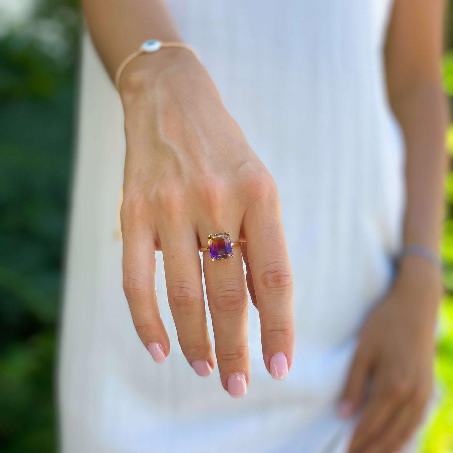 ametrine crystal ring