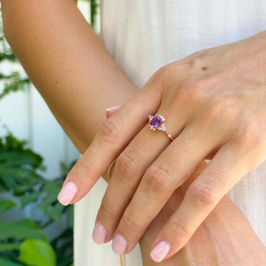 dainty amethyst engagement ring gold plated