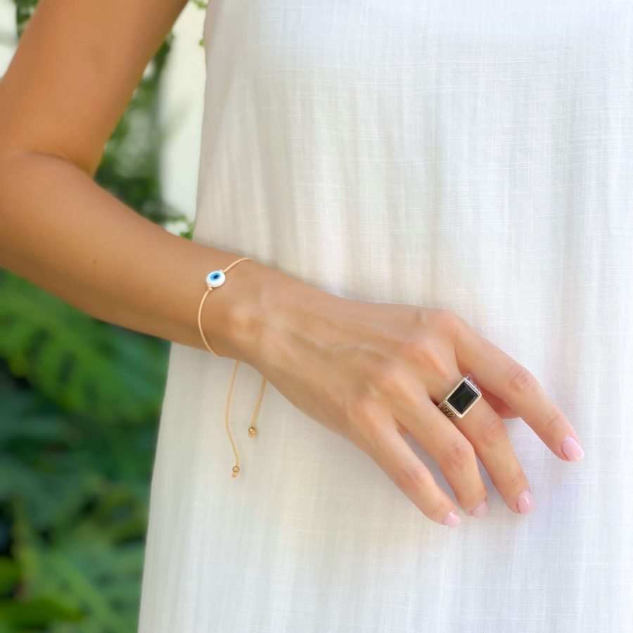 black onyx ring rectangle silver