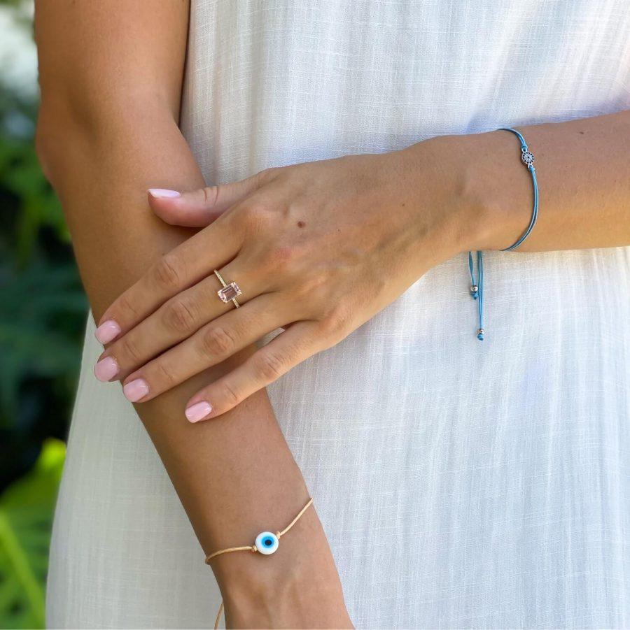 morganite natural stone ring