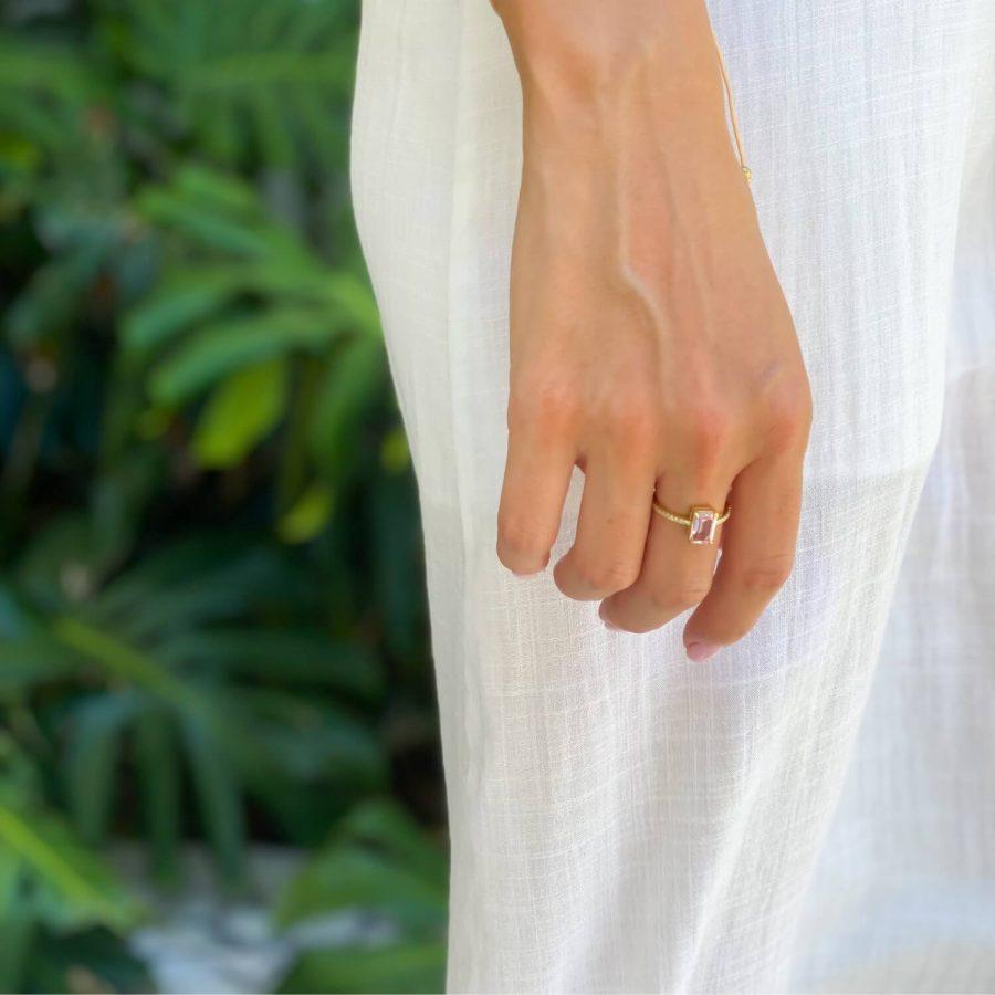 morganite natural stone ring usa
