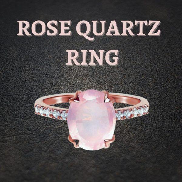 rose quartz rose gold crystal ring